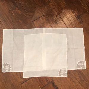 3 matching hand made linen napkins